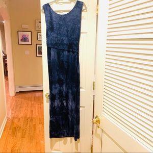 Tahari tie dye blue maxi dress size Large
